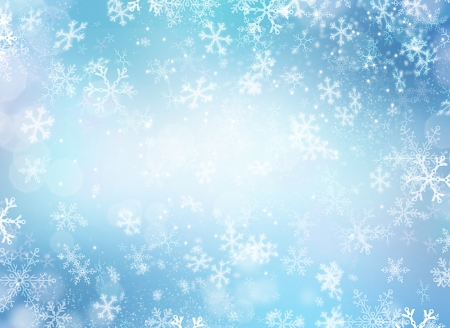 bokeh: Winter Holiday Snow Background  Christmas Abstract Backdrop  Stock Photo