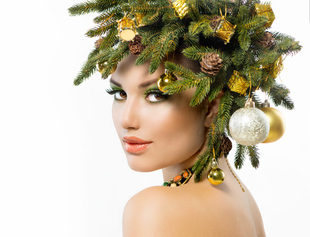 Christmas Woman  Christmas Tree Holiday Hairstyle and Make up  photo