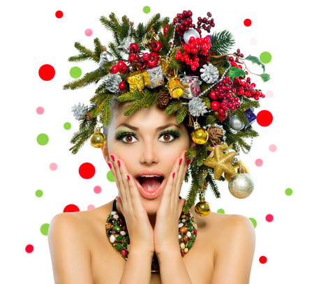 Christmas Woman  Christmas Tree Holiday Hairstyle and Make up  Stock fotó