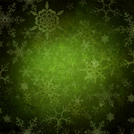 Green Christmas Holiday Background with Snowflakes