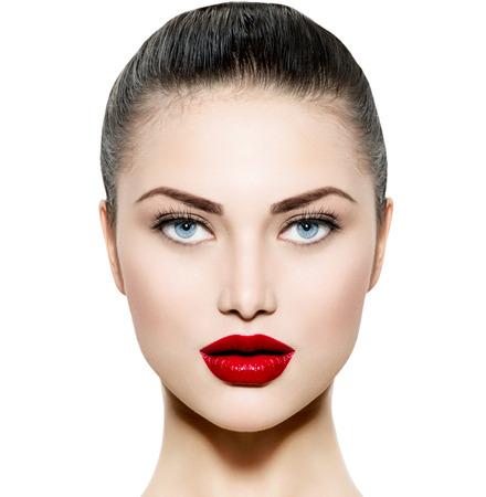 güzellik: Mavi gözleri ile Brunette Beauty Kadın Portre Makyaj Stok Fotoğraf