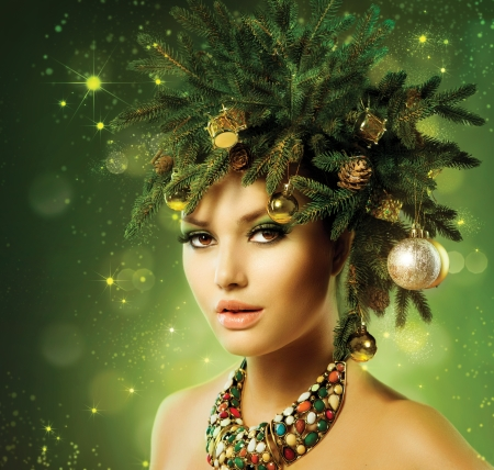 Christmas Woman  Christmas Tree Holiday Hairstyle and Make up  Stock Photo - 23042781