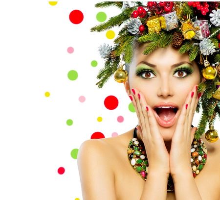 Christmas Woman  Christmas Tree Holiday Hairstyle and Make up  Stock Photo