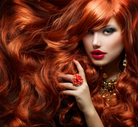 mod  �le: Long Curly Red Hair Fashion Woman Portrait