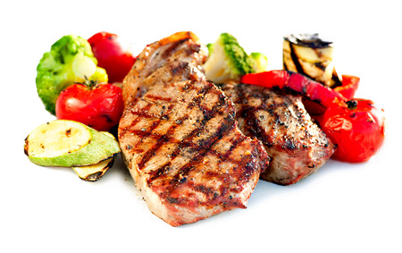 medium close up: Grilled Beef Steak Meat with Vegetables