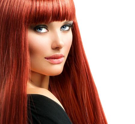 美女: 美麗的女人肖像紅頭髮女孩型面