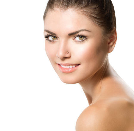 Beauty Portrait  Beautiful Spa Girl Face  Perfect Fresh Skin  photo