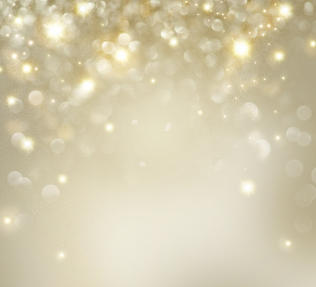 Christmas  Golden Holiday Background With Blinking Stars