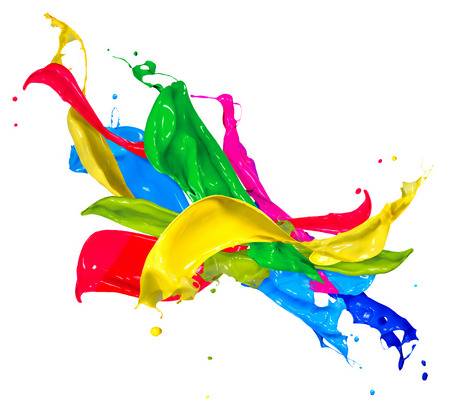 화이트 추상 튀는에 격리 된 다채로운 페인트 얼룩