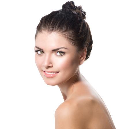 Beauty Portrait  Beautiful Spa Girl Face  Perfect Fresh Skin photo