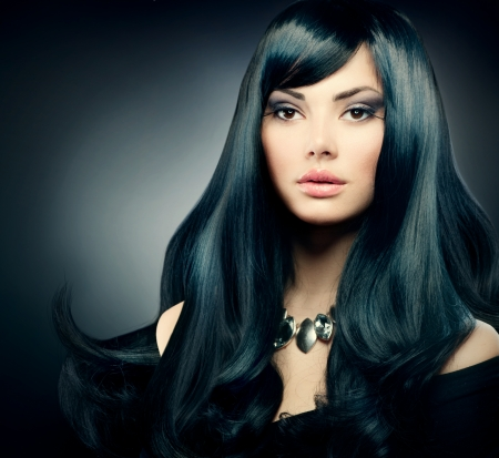 black women hair: Brunette Luxury Girl  Healthy Long Black Hair and Holiday Makeup