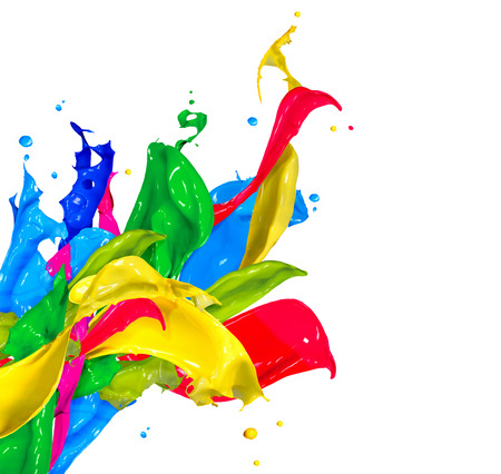 colours: Colorful Paint Splash Isolated on White  Abstract Splashing
