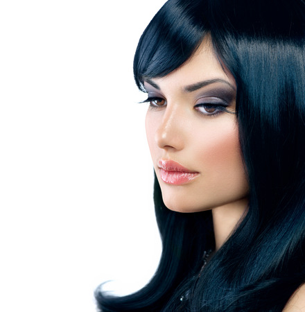 Beautiful Brunette Girl  Healthy Long Black Hair  photo