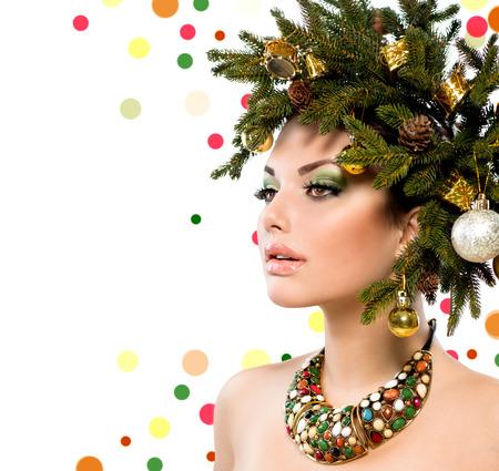 Christmas Woman  Christmas Holiday Hairstyle and Makeup  photo