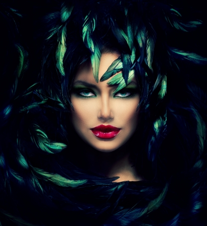 fantasy girl: Mysterious Woman Portrait  Beautiful Model Woman Face Closeup  Stock Photo