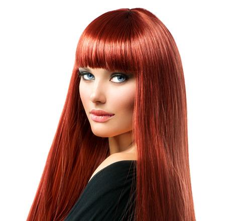 jolie fille: Beauty Woman Portrait cheveux rouges mod�le de visage de fille Banque d'images