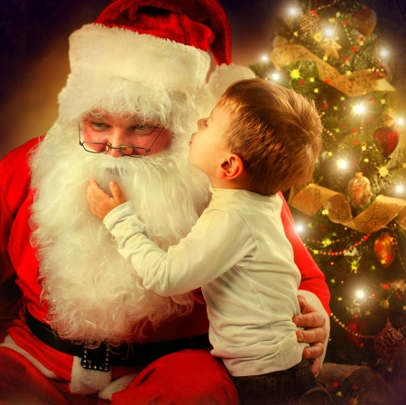 산타 클로스와 어린 소년 크리스마스 장면