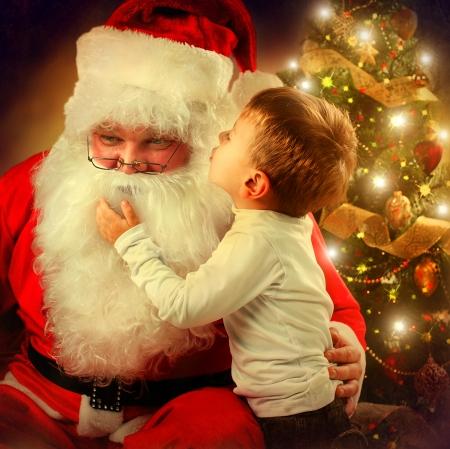 santa: Santa Claus and Little Boy  Christmas Scene