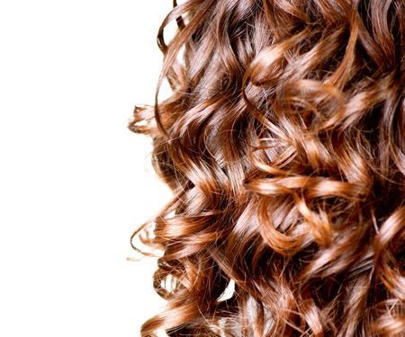 perming: Hair isolated on white  Border of Curly Brown Long Hair  Stock Photo