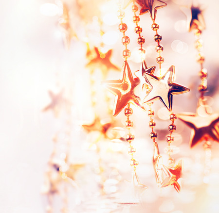 bokeh: Christmas Holiday Abstract Background with Stars