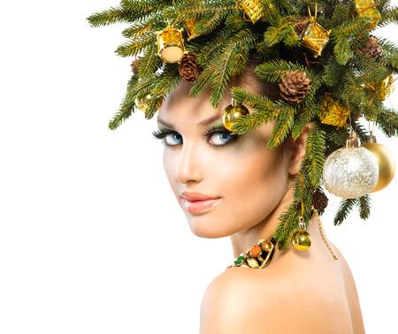 Christmas Woman  Christmas Holiday Hairstyle and Makeup  Stock Photo - 23735973