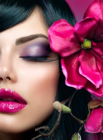 Perfect Holiday Makeup  Beauty Brunette Model Girl  photo