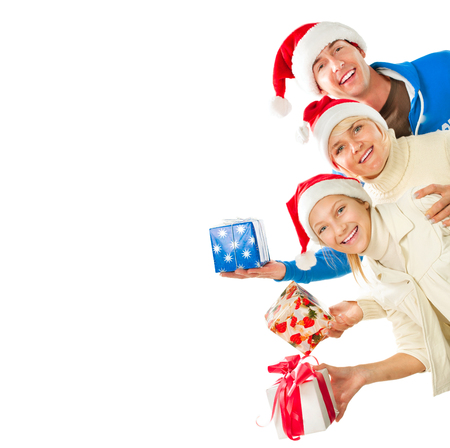 Happy Christmas Family with Gifts  Border Design photo