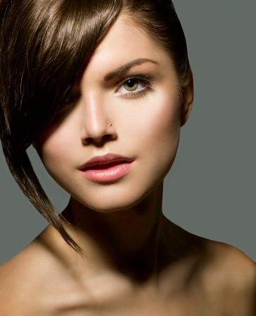 Stylish Fringe  Teenage Girl with Short Hair Style Stock Photo