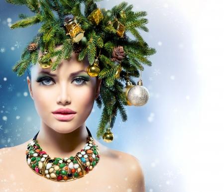 Christmas Woman  Christmas Tree Holiday Hairstyle and Makeup Stock Photo - 23735979