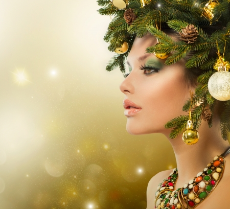 Christmas Woman  Christmas Tree Holiday Hairstyle and Makeup Stock Photo - 23735980