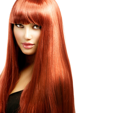 long hair woman: Sexy Woman with Long Shiny Straight Red Hair Isolated on White