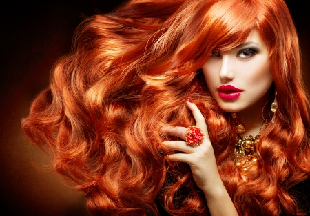 woman long hair: Long Curly Red Hair  Fashion Woman Portrait