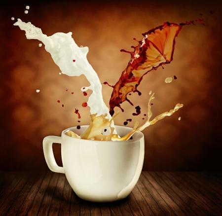 splashing: Coffee With Milk Splashing  Cup of Cappuccino or Latte
