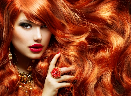 long hair woman: Long Curly Red Hair  Fashion Woman Portrait