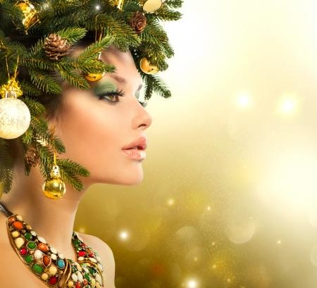 Christmas Woman  Christmas Tree Holiday Hairstyle and Makeup Stock Photo - 23419422