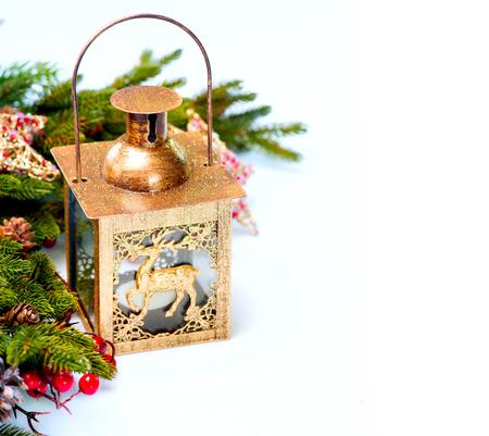 nouvel an: D�corations de No�l du Nouvel An isol� sur fond blanc Banque d'images