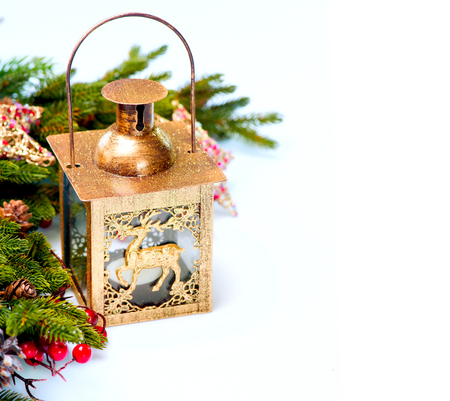 weihnachten zweig: Weihnachten Neujahr Dekorationen auf wei�em Hintergrund Lizenzfreie Bilder