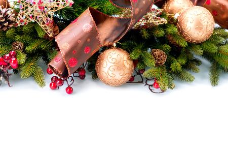 흰색 배경에 고립 된 크리스마스 새 해 장식 스톡 콘텐츠