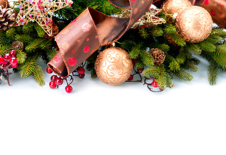 holly: Christmas  New Year Decorations Isolated on White Background  Stock Photo