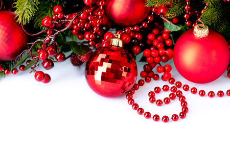 Christmas Baubles and Decorations isolated on White photo