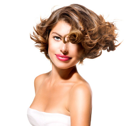 Beauty Young Woman Portrait Isolated over White Background  photo