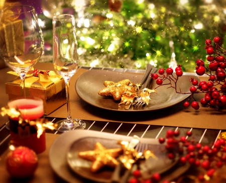 lights on: Christmas And New Year Holiday Table Setting  Celebration