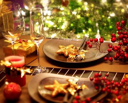 nouvel an: No�l et Nouvel An de vacances Table Setting Celebration Banque d'images