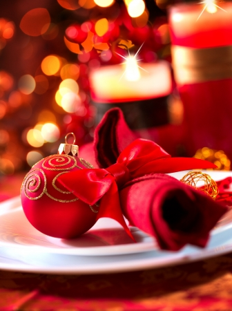 restaurant setting: Christmas And New Year Holiday Table Setting  Celebration