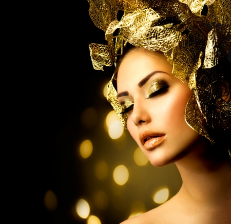 glitter makeup: Fashion Glamour Maquillaje Holiday Gold Maquillaje Foto de archivo