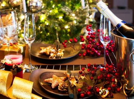 table: Christmas And New Year Holiday Table Setting  Celebration