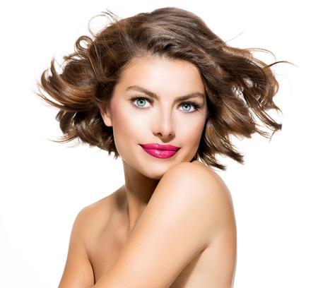 Schoonheid jonge vrouw portret geïsoleerd op witte achtergrond Stockfoto - 23911002