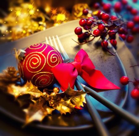 cena navideña: Navidad y año nuevo Holiday Celebration Tabla Configuración Foto de archivo