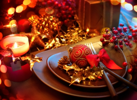 dinner table: Christmas And New Year Holiday Table Setting  Celebration