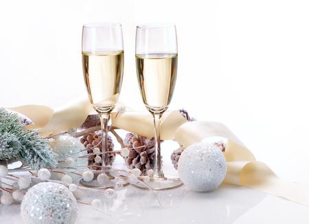 두 샴페인 잔 크리스마스 축하 스톡 콘텐츠